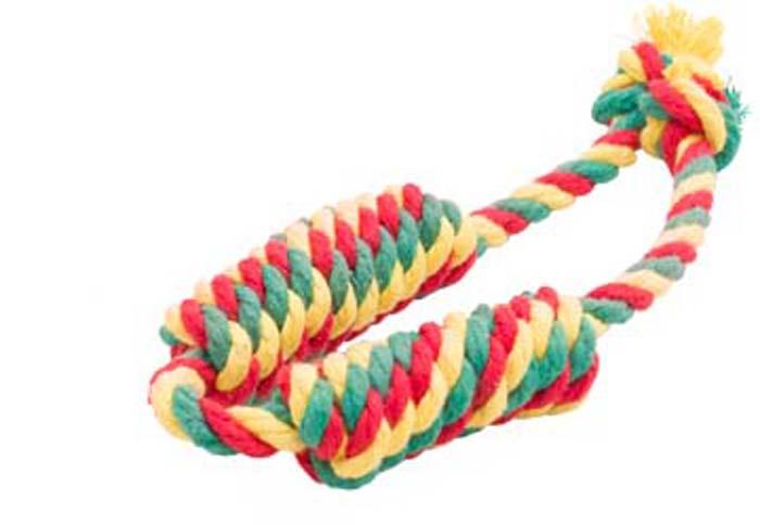 Игрушка для собак Doglike Канатная сарделька, двойная, малая, цвет: красный, желтый, зеленый, длина 44 смD-2367-YGRИгрушка Doglike Канатная сарделька служит для массажа десен и очистки зубов от налета и камня, а также снимает нервное напряжение. Игрушка изготовлена из перекрученных хлопковых веревок. Она прочная и может выдержать огромное количество часов игры. Это идеальная замена косточке.Если ваш пес портит мебель, излишне агрессивен, непослушен или страдает излишним весом то, скорее всего, корень всех бед кроется в недостаточной физической и эмоциональной нагрузке. Порадуйте своего питомца прекрасным и качественным подарком.