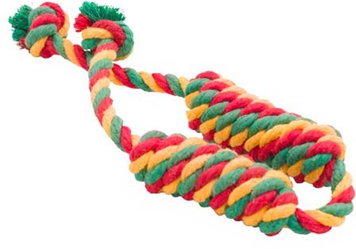 Игрушка для собак Doglike Канатная сарделька, двойная, средняя, цвет: красный, желтый, зеленый, длина 53 см игрушка канатная mrpet восьмерка с мячем цвет желтый красный 25 см