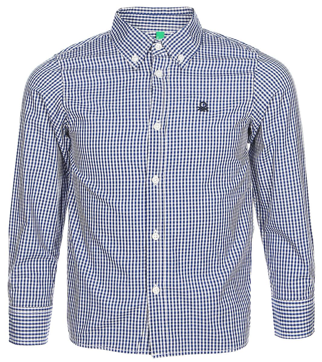 Рубашка для мальчиков United Colors of Benetton, цвет: синий. 5DU65Q200_949. Размер 1305DU65Q200_949