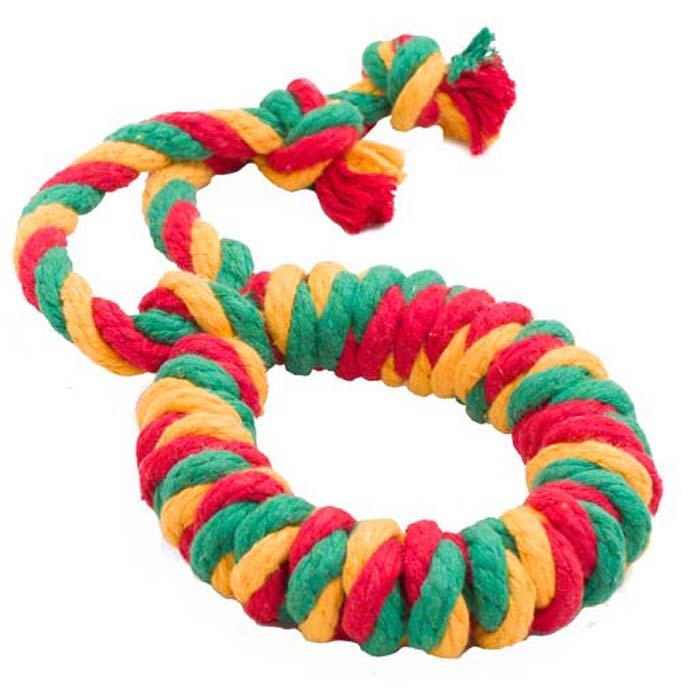 """Игрушка для собак Doglike """"Канатное кольцо"""", большое, цвет: красный, желтый, зеленый, длина 41 см, диаметр 13 см"""