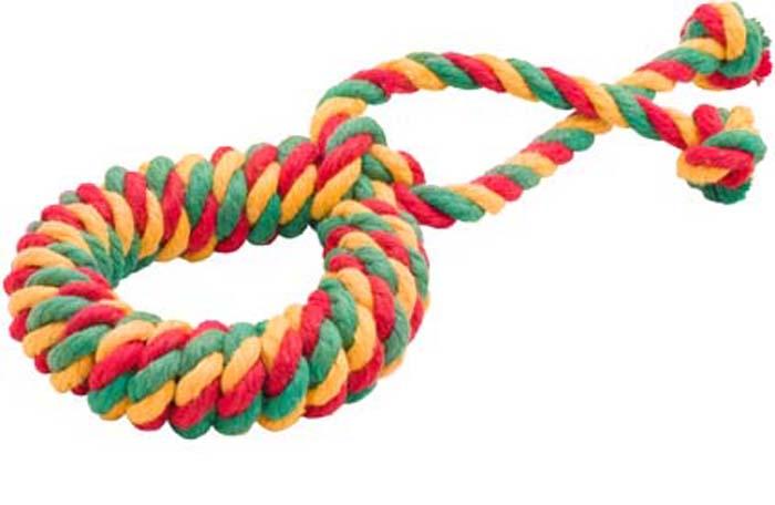 """Игрушка для собак Doglike """"Канатное кольцо"""", среднее, цвет: красный, желтый, зеленый, длина 31 см, диаметр 12 см"""