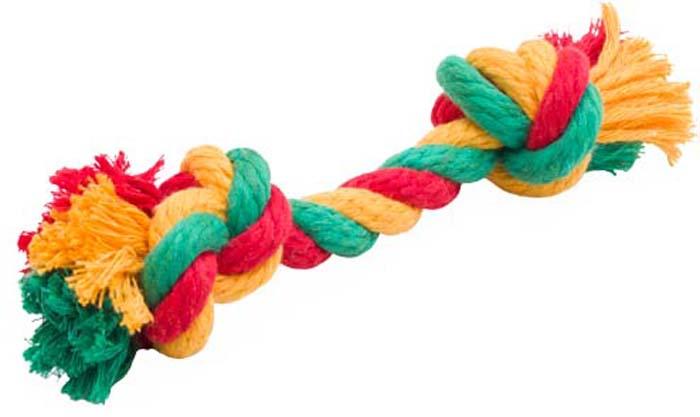 """Игрушка для собак Doglike """"Канатный грейфер"""", 2 узла, большой, цвет: красный, желтый, зеленый, длина 33 см"""