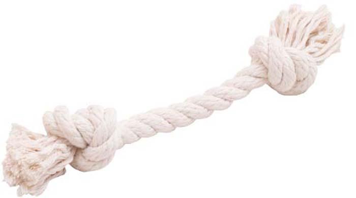 """Игрушка для собак Doglike """"Канатный грейфер"""", 2 узла, средний, цвет: белый, длина 33 см"""