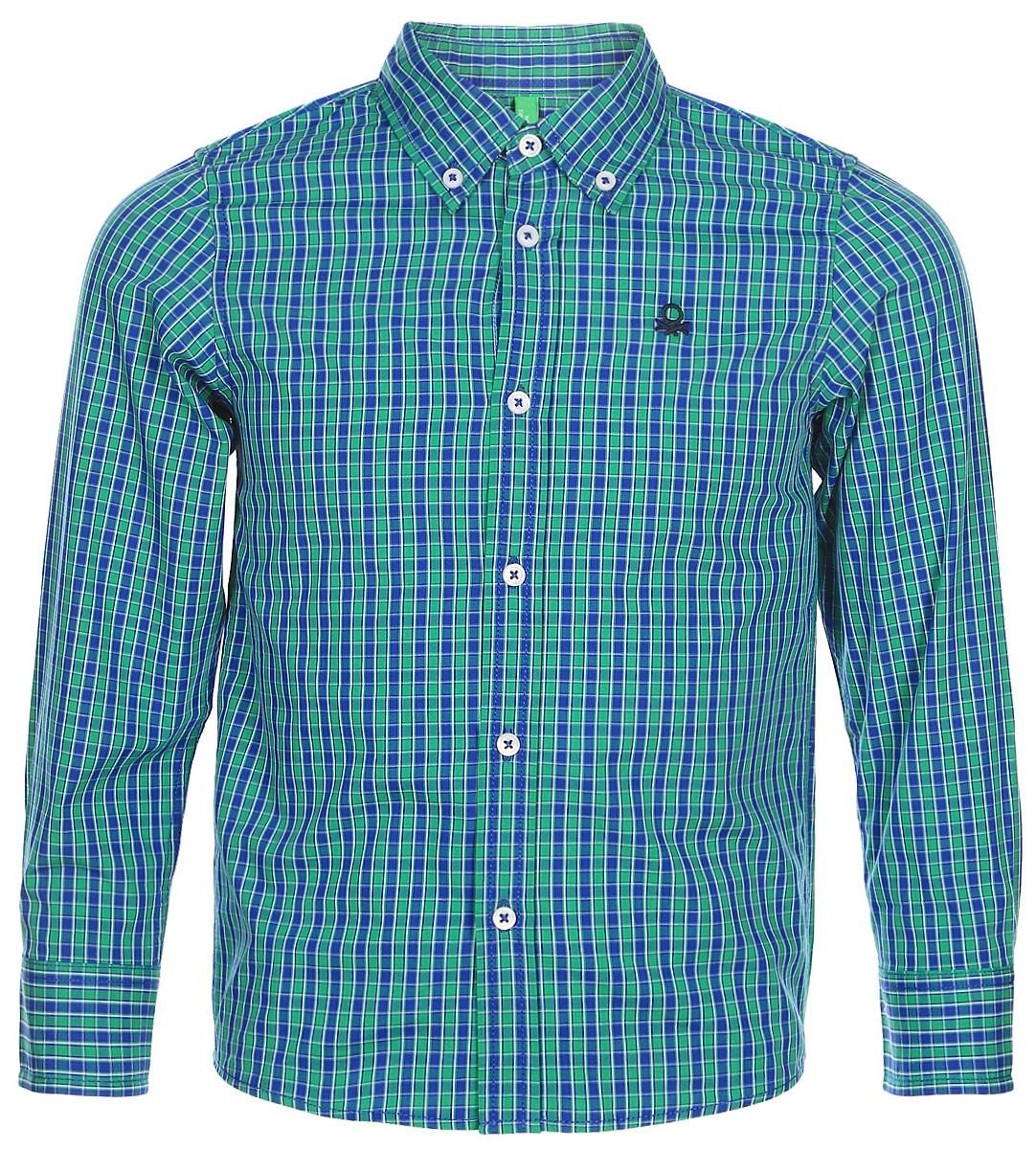 Рубашка для мальчиков United Colors of Benetton, цвет: серый. 5DU65Q200_975. Размер 1505DU65Q200_975