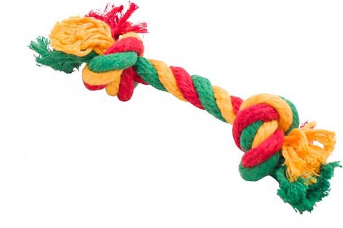 Игрушка для собак Doglike Канатный грейфер, 2 узла, средний, цвет: красный, желтый, зеленый, длина 33 см