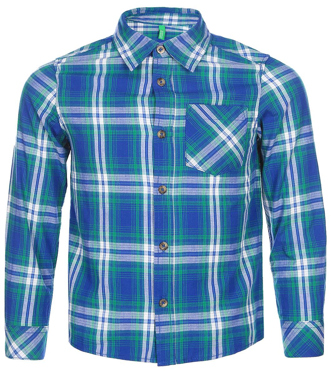 Рубашка для мальчика United Colors of Benetton, цвет: синий, зеленый, белый. 5FU95Q930_929. Размер 1105FU95Q930_929Рубашка для мальчика United Colors of Benetton выполнена из натурального хлопка. Модель с отложным воротником застёгивается на пуговицы.