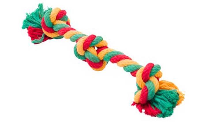 """Игрушка для собак Doglike """"Канатный грейфер"""", 3 узла, большой, цвет: красный, желтый, зеленый, длина 33 см"""