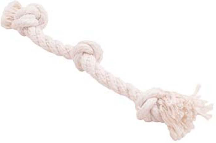 Игрушка для собак Doglike Канатный грейфер, 3 узла, малый, цвет: белый, длина 33 см