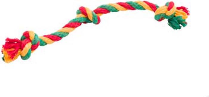 Игрушка для собак Doglike Канатный грейфер, 3 узла, малый, цвет: красный, желтый, зеленый, длина 33 см