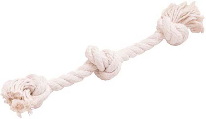 """Игрушка для собак Doglike """"Канатный грейфер"""", 3 узла, средний, цвет: белый, длина 33 см"""