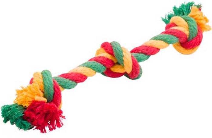 Игрушка для собак Doglike Канатный грейфер, 3 узла, средний, цвет: красный, желтый, зеленый, длина 33 смD-2354-YGRИгрушка Doglike Канатный грейфер с тремя узлами служит для массажа десен и очистки зубов от налета и камня, а также снимает нервное напряжение. Игрушка изготовлена из перекрученных хлопковых веревок. Она прочная и может выдержать огромное количество часов игры. Это идеальная замена косточке.Если ваш пес портит мебель, излишне агрессивен, непослушен или страдает излишним весом то, скорее всего, корень всех бед кроется в недостаточной физической и эмоциональной нагрузке. Порадуйте своего питомца прекрасным и качественным подарком.