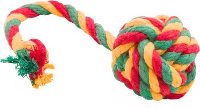 Игрушка для собак Doglike Канатный мяч, большой, цвет: красный, желтый, зеленый, длина 38 см, диаметр 9 см игрушка doglike гантель большая канат желтый зеленый красный для собак d 2368ygr
