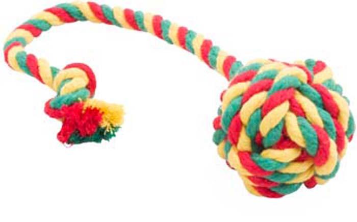 Игрушка для собак Doglike Канатный мяч, малый, цвет: красный, желтый, зеленый, длина 33 см, диаметр 6 см