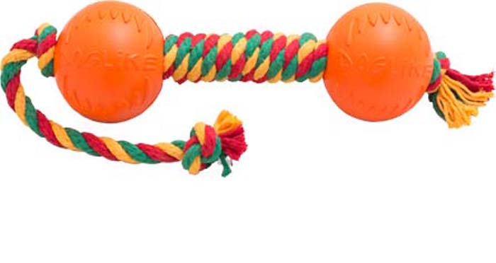 Игрушка для собак Doglike Канатная гантель, средняя, цвет: красный, желтый, зеленый, длина 53 см, диаметр 9 см игрушка doglike гантель большая канат желтый зеленый красный для собак d 2368ygr