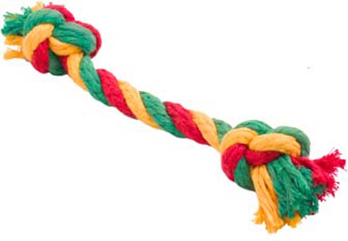 Игрушка для собак Doglike Канатный грейфер, 2 узла, малый, цвет: красный, желтый, зеленый, длина 33 см
