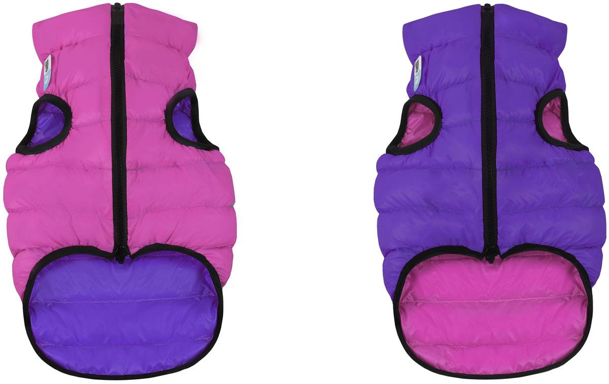 Куртка для собак AiryVest, двухсторонняя, унисекс, цвет: розовый, фиолетовый. Размер S (35)1585Куртка AiryVest - самая легкая курточка для собак. Она теплая, удобная, стильная и... двусторонняя! Ее современный минималистичный дизайн выполнен в спортивном стиле, сочетающем эстетику и функциональность.Куртка отлично сидит на собаке, не закрывает задние ноги и живот.AiryVest - мультисезонная одежда. Прекрасно подходит для холодной весны, сухой осени и мягкой зимы. Основные преимущества:- Ультралегкая. Вес курточки малого размера менее 50 грамм. - Стильный дизайн.- Двусторонняя.- Два цвета в одной курточке.- Сумочка для хранения и транспортировки.- Легко надевается благодаря специальной конструкции молнии (застегивается сверху вниз).- Широкий размерный ряд. 9 размеров для всех популярных пород собак.Одежда для собак: нужна ли она и как её выбрать. Статья OZON Гид
