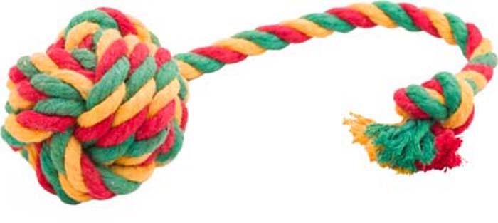 Игрушка для собак Doglike Канатный мяч, средний, цвет: красный, желтый, зеленый, длина 35 см, диаметр 7 см