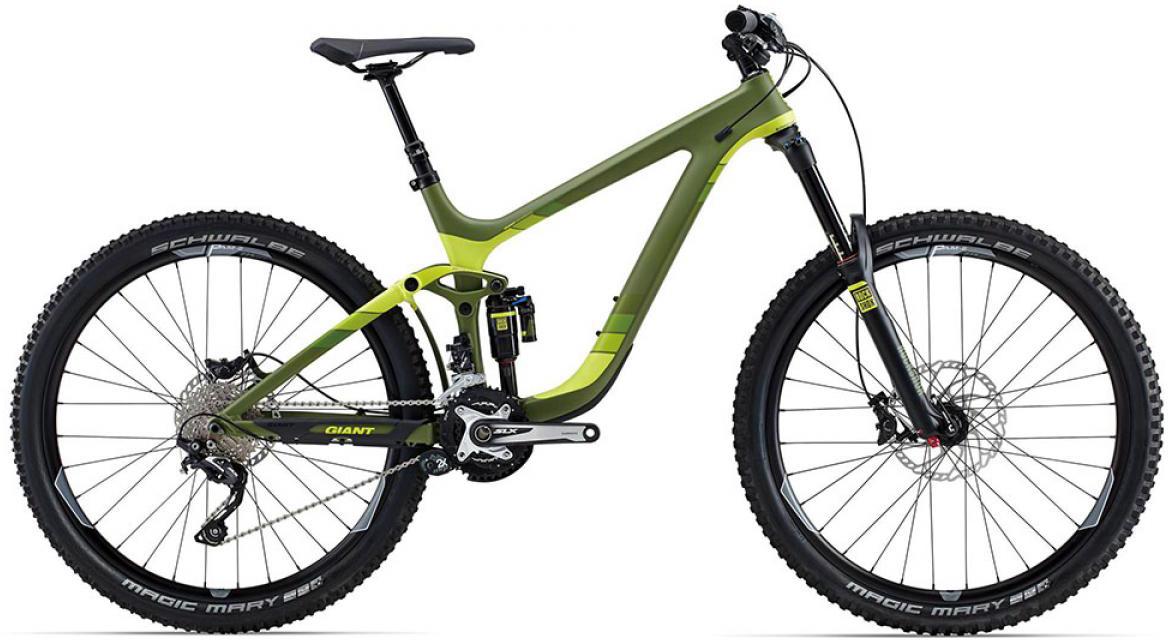 Велосипед горный Giant Reign Advanced 1 2015, двухподвесный, цвет: зеленый, рама 22, колесо, 27,5129607