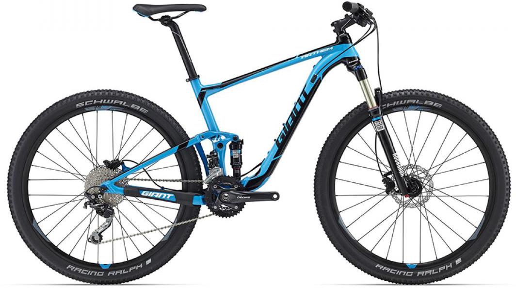 Велосипед горный Giant Anthem 3 2016, двухподвесный, цвет: синий, рама 18, колесо, 27,5260124