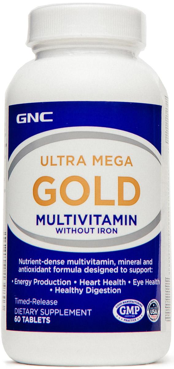 Комплекс мультивитаминный GNC Ultra Mega Gold, без железа, 60 таблеток570963Мультивитаминный комплекс GNC Ultra Mega Gold для бодрости и энергии рекомендован при повышенных умственных и физических нагрузках.GNC Ultra Mega Gold - мощная формула для борьбы с ежедневным стрессом. Товар не является лекарственным средством. Товар не рекомендован для лиц младше 18 лет. Могут быть противопоказания и следует предварительно проконсультироваться со специалистом.Товар сертифицирован.