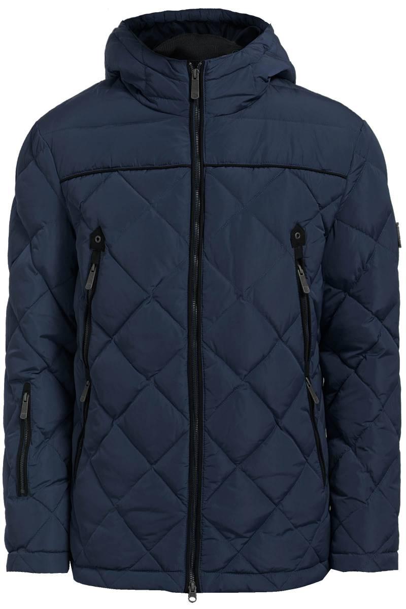Куртка мужская Finn Flare, цвет: темно-синий. W17-22002_101. Размер L (50)W17-22002_101Стеганая мужская куртка изготовлена из качественного полиэстера. В качестве утеплителя используется пух с небольшим добавлением пера. Модель с длинными рукавами и несъемным капюшоном застегивается на молнию. По бокам расположены врезные карманы на застежках-молниях.