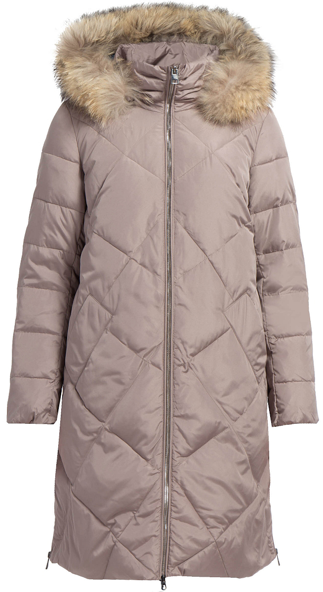Пальто женское Finn Flare, цвет: серо-розовый. W17-11001_824. Размер M (46)W17-11001_824Пальто Finn Flare изготовлено из качественного полиэстера с синтепоновым утеплителем. Модель с длинными рукавами и капюшоном с мехом застегивается на молнию. Пальто дополнено прорезными карманами на застежках-молниях. По бокам изделия расположены металлические молнии.