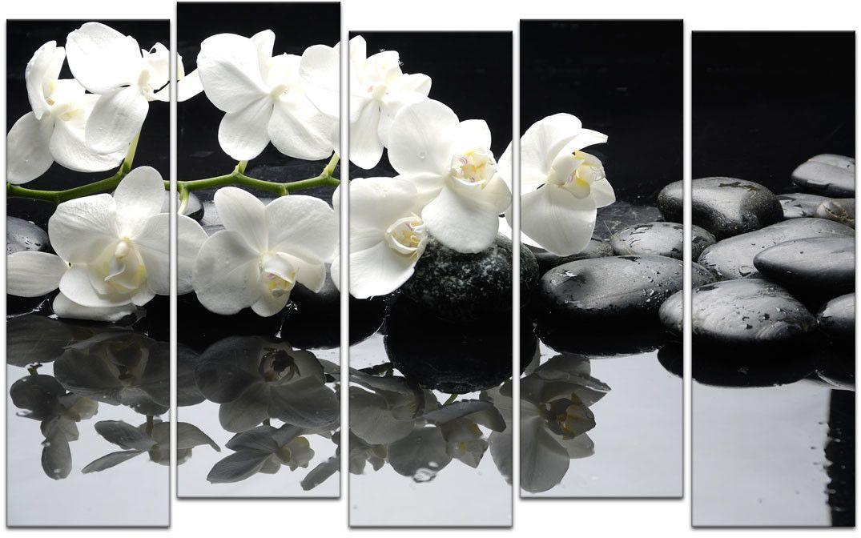 Картина модульная Картиномания Белые орхидеи и черные камни, 120 x 77 смАРТ-М180MВ состав входит комплект креплений и инструкция по креплению на стену.