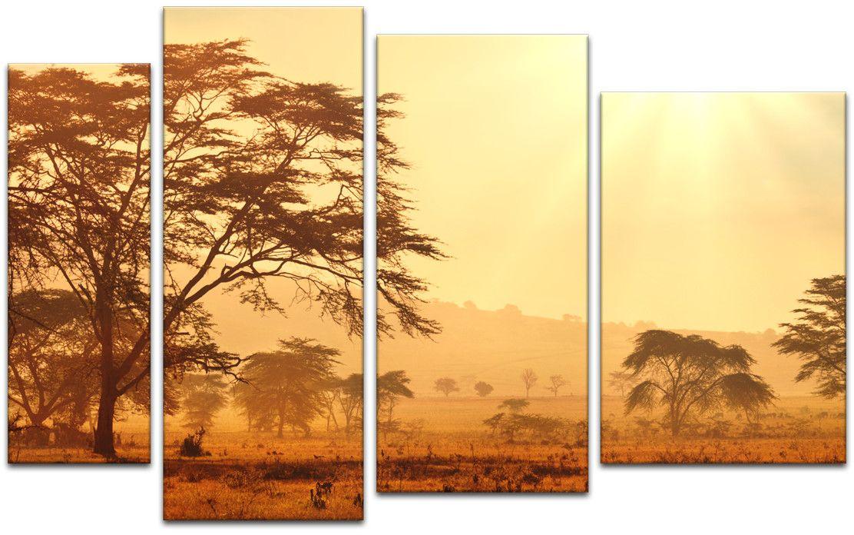Картина модульная Картиномания Африканская саванна на рассвете, 120 x 77 смАРТ-М196MМодульная картина Картиномания - это прекрасное решение для декора помещения. Картина состоит из четырех модулей. Цифровая печать. Холст натянут на деревянный подрамник галерейной натяжкой и закреплен с обратной стороны. Изделие устойчиво к выцветанию. Размер изображения: 120 x 77 см. В состав входит комплект креплений и инструкция по креплению на стену. Уход: можно протирать сухой мягкой тканью.