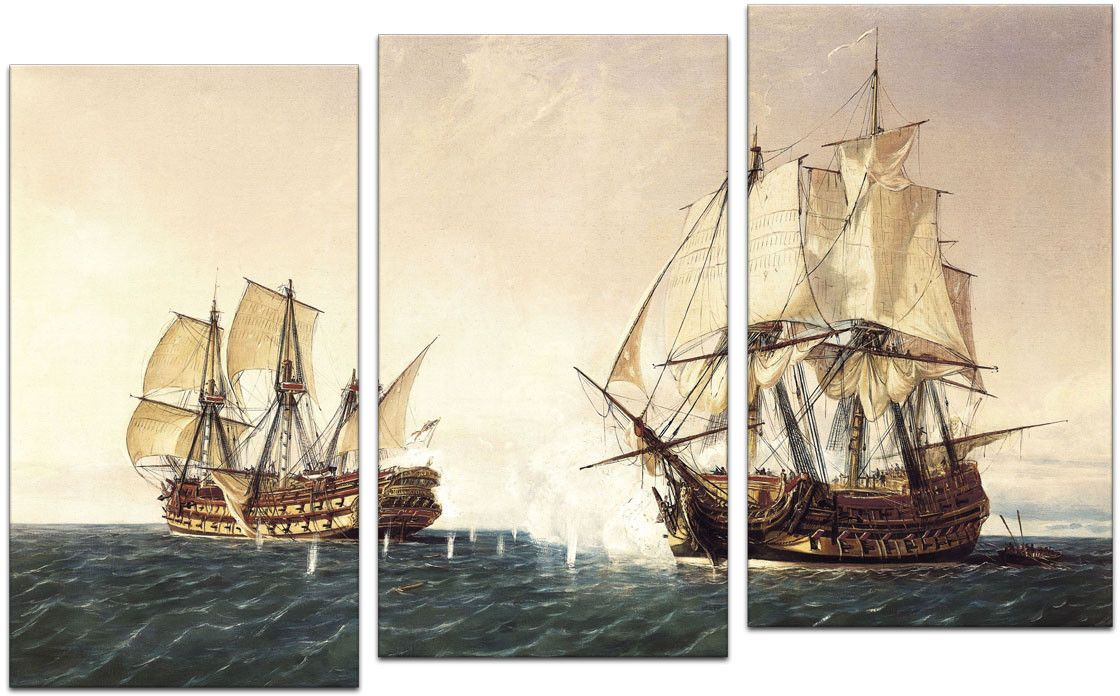 Картина модульная Картиномания Корабль на море, 120 x 77 смАРТ-М465MМодульная картина Картиномания - это прекрасное решение для декора помещения. Картина состоит из трех модулей. Цифровая печать. Холст натянут на деревянный подрамник галерейной натяжкой и закреплен с обратной стороны. Изделие устойчиво к выцветанию. Размер изображения: 120 x 77 см. В состав входит комплект креплений и инструкция по креплению на стену. Уход: можно протирать сухой мягкой тканью.