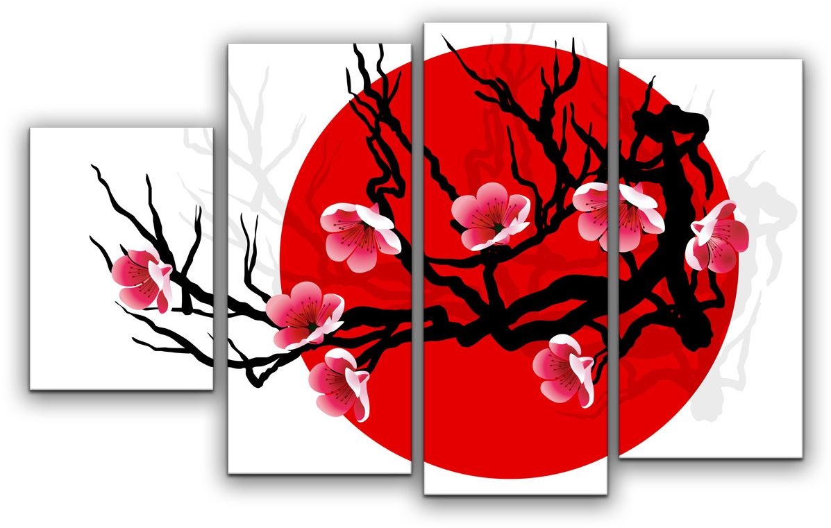 Картина модульная Картиномания Японская сакура, 120 x 77 смАРТ-М632MМодульная картина Картиномания - это прекрасное решение для декора помещения. Картина состоит из четырех модулей. Цифровая печать. Холст натянут на деревянный подрамник галерейной натяжкой и закреплен с обратной стороны. Изделие устойчиво к выцветанию. Размер изображения: 120 x 77 см. В состав входит комплект креплений и инструкция по креплению на стену. Уход: можно протирать сухой мягкой тканью.