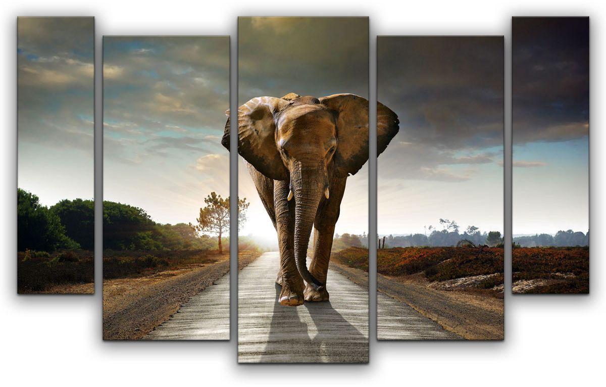 Картина модульная Картиномания Магистральный слон, 120 x 77 смАРТ-М667MМодульная картина Картиномания - это прекрасное решение для декора помещения. Картина состоит из пяти модулей. Цифровая печать. Холст натянут на деревянный подрамник галерейной натяжкой и закреплен с обратной стороны. Изделие устойчиво к выцветанию. Размер изображения: 120 x 77 см. В состав входит комплект креплений и инструкция по креплению на стену. Уход: можно протирать сухой мягкой тканью.