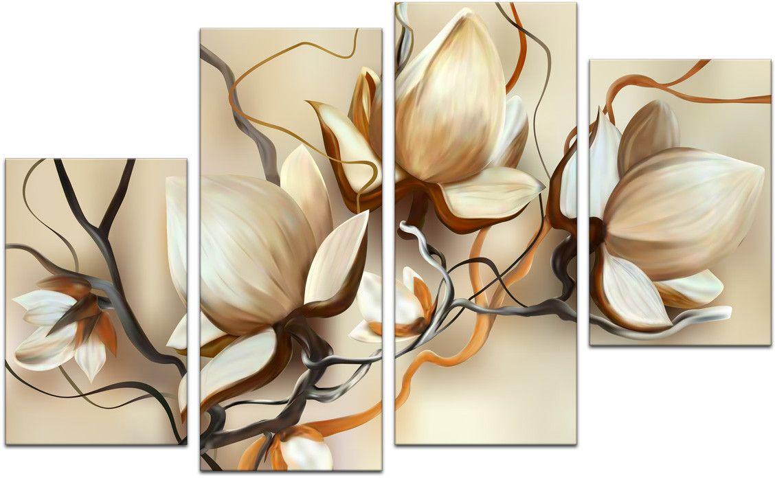 Картина модульная Картиномания Кремовые цветы, 120 x 77 смАРТ-М704MМодульная картина Картиномания - это прекрасное решение для декора помещения. Картинасостоит из четырех модулей. Цифровая печать. Холст натянут на деревянный подрамникгалерейной натяжкой и закреплен с обратной стороны. Изделие устойчиво к выцветанию.Размер изображения: 120 x 77 см. В состав входит комплект креплений и инструкция покреплению на стену. Уход: можно протирать сухой мягкой тканью.