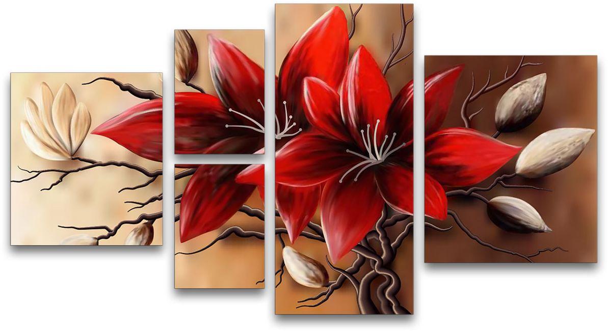 Картина модульная Картиномания Красные цветы, 120 x 65 смАРТ-М711MМодульная картина Картиномания Красные цветы - это прекрасное решение для декора помещения. Картина состоит из пяти модулей. Холст натянут на деревянный подрамникгалерейной натяжкой и закреплен с обратной стороны. Изделие устойчиво к выцветанию.В состав входит комплект креплений и инструкция по креплению на стену. Размер изображения: 120 x 65 см.