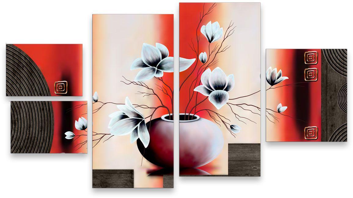 Картина модульная Картиномания Интерьерные цветы, 120 x 65 смАРТ-М713MМодульная картина Картиномания Интерьерные цветы - это прекрасное решение для декора помещения. Картина состоит из пяти модулей. Холст натянут на деревянный подрамникгалерейной натяжкой и закреплен с обратной стороны. Изделие устойчиво к выцветанию.В состав входит комплект креплений и инструкция по креплению на стену. Размер изображения: 120 x 65 см.