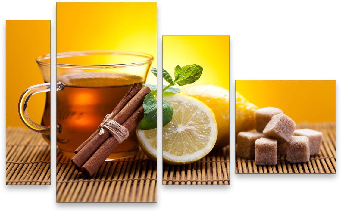 Картина модульная Картиномания Чай с лимоном, 120 x 77 смАРТ-М746MВ состав входит комплект креплений и инструкция по креплению на стену.