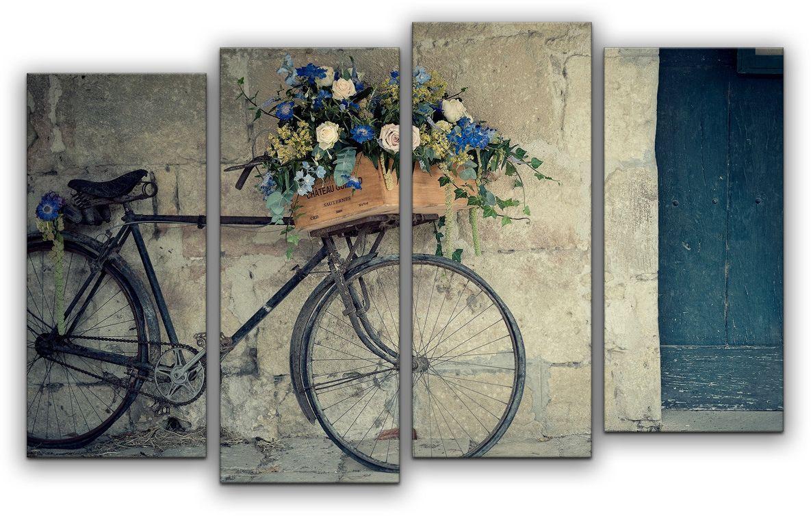 Картина модульная Картиномания Велосипед флориста, 120 x 77 смАРТ-М749MМодульная картина Картиномания - это прекрасное решение для декора помещения. Картина состоит из четырех модулей. Цифровая печать. Холст натянут на деревянный подрамник галерейной натяжкой и закреплен с обратной стороны. Изделие устойчиво к выцветанию. Размер изображения: 120 x 77 см. В состав входит комплект креплений и инструкция по креплению на стену. Уход: можно протирать сухой мягкой тканью.