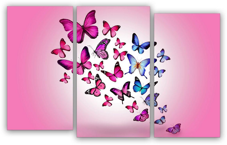Картина модульная Картиномания Розовые бабочки, 120 x 77 смАРТ-М760MМодульная картина Картиномания - это прекрасное решение для декора помещения. Картинасостоит из трех модулей. Цифровая печать. Холст натянут на деревянный подрамникгалерейной натяжкой и закреплен с обратной стороны. Изделие устойчиво к выцветанию.Размер изображения: 120 x 77 см. В состав входит комплект креплений и инструкция покреплению на стену. Уход: можно протирать сухой мягкой тканью.