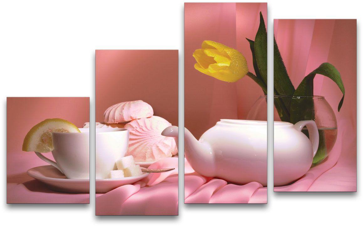 Картина модульная Картиномания Чайный натюрморт, 120 x 77 смАРТ-М779MМодульная картина Картиномания - это прекрасное решение для декора помещения. Картина состоит из четырех модулей. Цифровая печать. Холст натянут на деревянный подрамник галерейной натяжкой и закреплен с обратной стороны. Изделие устойчиво к выцветанию. Размер изображения: 120 x 77 см. В состав входит комплект креплений и инструкция по креплению на стену. Уход: можно протирать сухой мягкой тканью.
