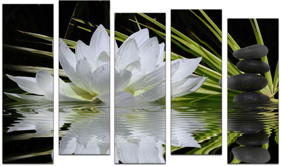 Картина модульная Картиномания Белый лотос, 120 x 77 смАРТ-М784MМодульная картина Картиномания - это прекрасное решение для декора помещения. Картина состоит из пяти модулей. Цифровая печать. Холст натянут на деревянный подрамник галерейной натяжкой и закреплен с обратной стороны. Изделие устойчиво к выцветанию. Размер изображения: 120 x 77 см. В состав входит комплект креплений и инструкция по креплению на стену. Уход: можно протирать сухой мягкой тканью.