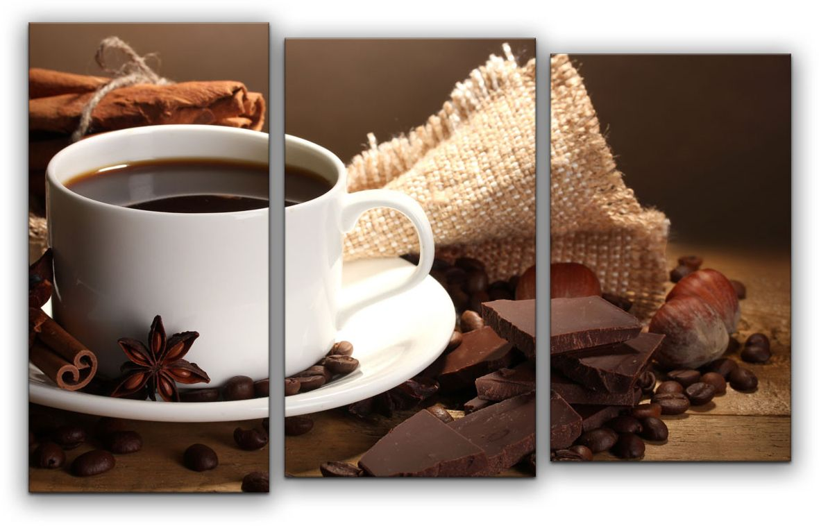 Картина модульная Картиномания Кофе с шоколадом, 120 x 77 смАРТ-М788MВ состав входит комплект креплений и инструкция по креплению на стену.