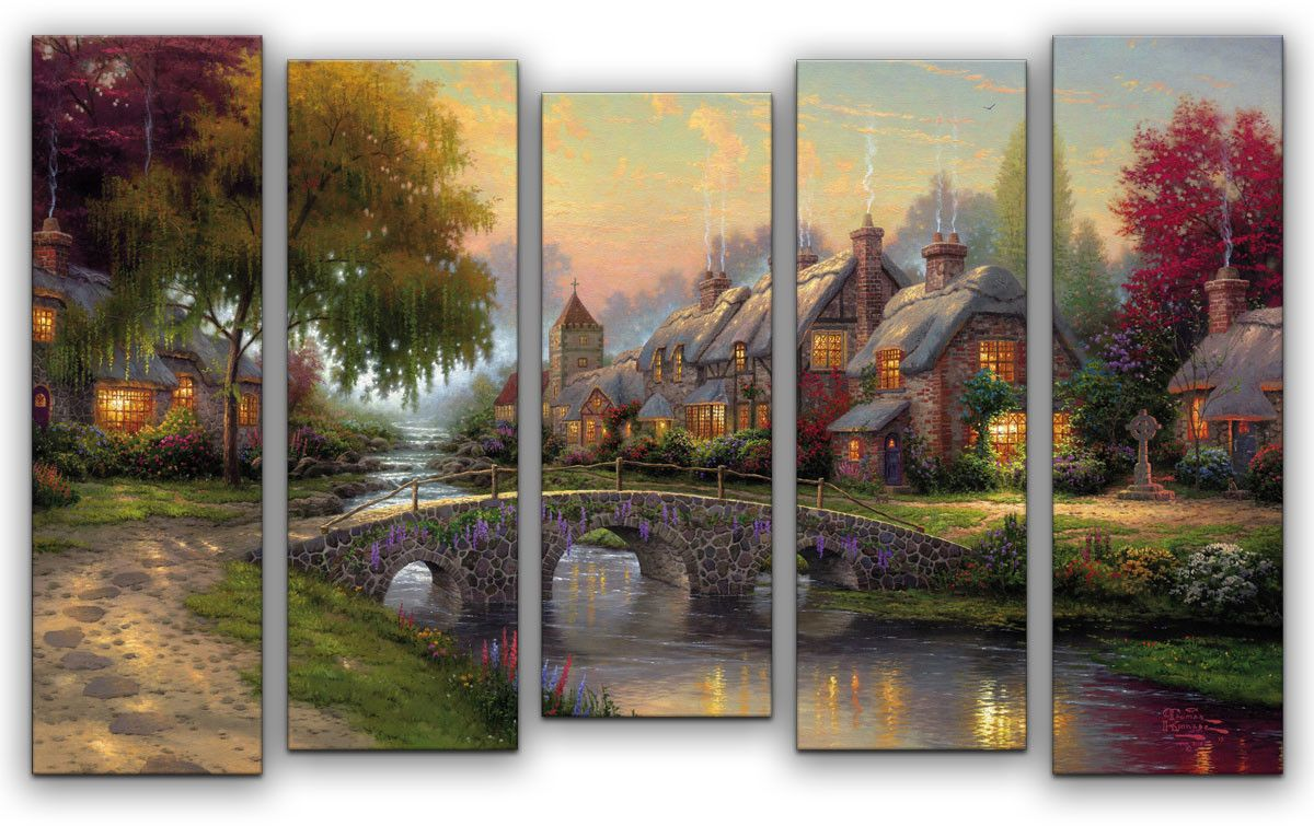 Картина модульная Картиномания Сказочная деревня, 120 x 77 смАРТ-М796MМодульная картина Картиномания - это прекрасное решение для декора помещения. Картина состоит из пяти модулей. Цифровая печать. Холст натянут на деревянный подрамник галерейной натяжкой и закреплен с обратной стороны. Изделие устойчиво к выцветанию. Размер изображения: 120 x 77 см. В состав входит комплект креплений и инструкция по креплению на стену. Уход: можно протирать сухой мягкой тканью.