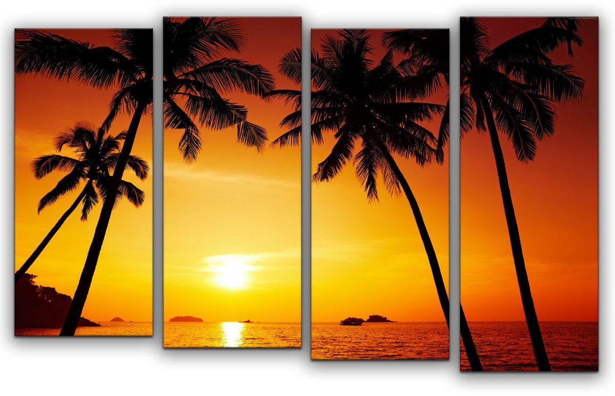 Картина модульная Картиномания Райский вечер, 120 x 77 см. АРТ-М847MАРТ-М847MВ состав входит комплект креплений и инструкция по креплению на стену.