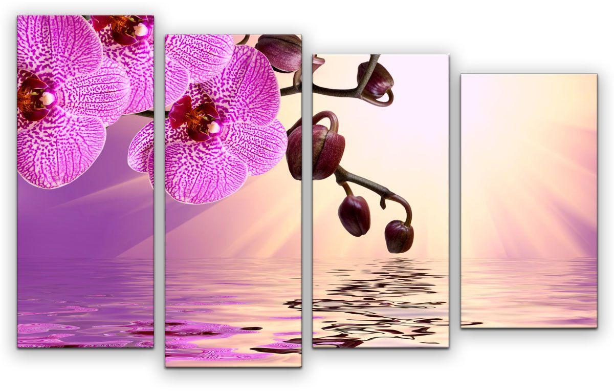 Картина модульная Картиномания Нежная орхидея, 120 x 77 смАРТ-М849MМодульная картина Картиномания - это прекрасное решение для декора помещения. Картина состоит из четырех модулей. Цифровая печать. Холст натянут на деревянный подрамник галерейной натяжкой и закреплен с обратной стороны. Изделие устойчиво к выцветанию. Размер изображения: 120 x 77 см. В состав входит комплект креплений и инструкция по креплению на стену. Уход: можно протирать сухой мягкой тканью.