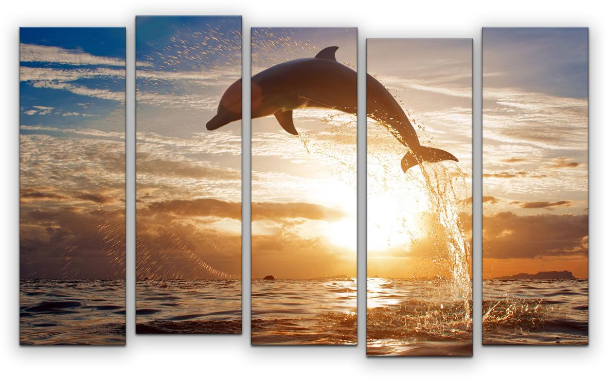 Картина модульная Картиномания Дельфин на закате, 120 x 77 смАРТ-М850MМодульная картина Картиномания - это прекрасное решение для декора помещения. Картинасостоит из пяти модулей. Цифровая печать. Холст натянут на деревянный подрамникгалерейной натяжкой и закреплен с обратной стороны. Изделие устойчиво к выцветанию.Размер изображения: 120 x 77 см. В состав входит комплект креплений и инструкция покреплению на стену. Уход: можно протирать сухой мягкой тканью.