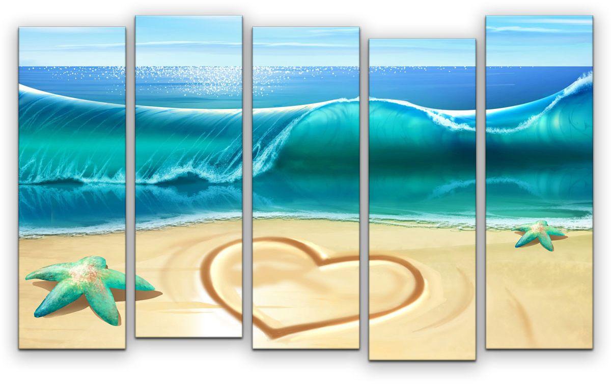 """Модульная картина """"Картиномания"""" - это прекрасное решение для декора помещения. Картина  состоит из пяти модулей. Цифровая печать. Холст натянут на деревянный подрамник  """"галерейной натяжкой"""" и закреплен с обратной стороны. Изделие устойчиво к выцветанию.  Размер изображения: 120 x 77 см.   В состав входит комплект креплений и инструкция по  креплению на стену. Уход: можно протирать сухой мягкой тканью."""