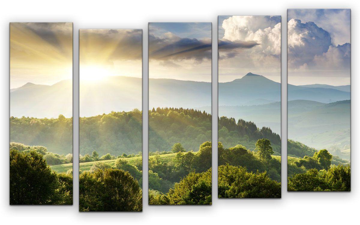 Картина модульная Картиномания Утро в горах, 120 x 77 смАРТ-М861MМодульная картина Картиномания - это прекрасное решение для декора помещения. Картина состоит из пяти модулей. Цифровая печать. Холст натянут на деревянный подрамник галерейной натяжкой и закреплен с обратной стороны. Изделие устойчиво к выцветанию. Размер изображения: 120 x 77 см. В состав входит комплект креплений и инструкция по креплению на стену. Уход: можно протирать сухой мягкой тканью.