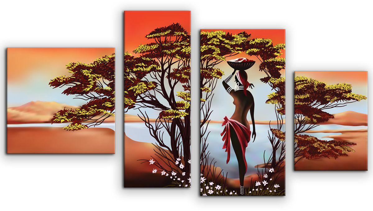 Картина модульная Картиномания Африканка у реки, 120 x 65 смАРТ-М883MВ состав входит комплект креплений и инструкция по креплению на стену.