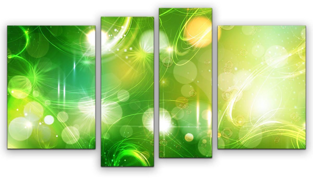 Картина модульная Картиномания Зеленая абстракция, 120 x 65 смАРТ-М886MМодульная картина Картиномания Зеленая абстракция - это прекрасное решение для декора помещения. Картина состоит из четырех модулей. Холст натянут на деревянный подрамникгалерейной натяжкой и закреплен с обратной стороны. Изделие устойчиво к выцветанию.В состав входит комплект креплений и инструкция по креплению на стену. Размер изображения: 120 x 65 см.