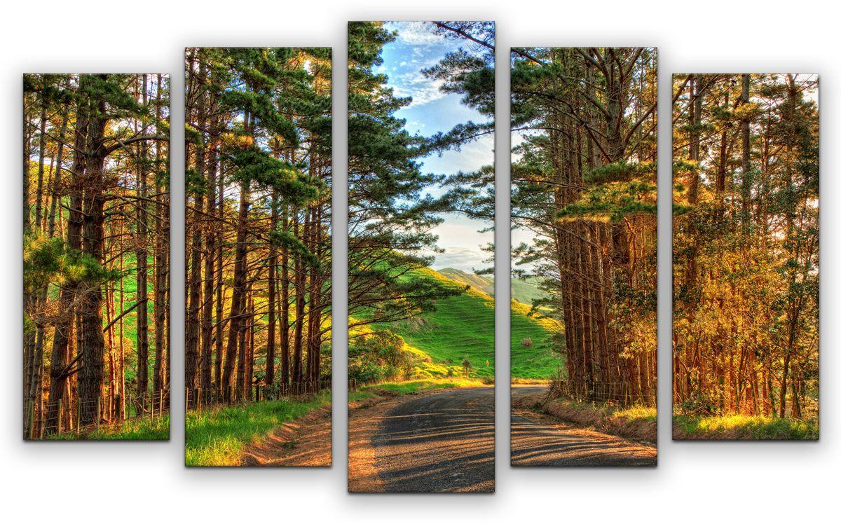 Картина модульная Картиномания Дорога, 120 x 77 смАРТ-М888MМодульная картина Картиномания - это прекрасное решение для декора помещения. Картинасостоит из пяти модулей. Цифровая печать. Холст натянут на деревянный подрамникгалерейной натяжкой и закреплен с обратной стороны. Изделие устойчиво к выцветанию.Размер изображения: 120 x 77 см. В состав входит комплект креплений и инструкция покреплению на стену. Уход: можно протирать сухой мягкой тканью.