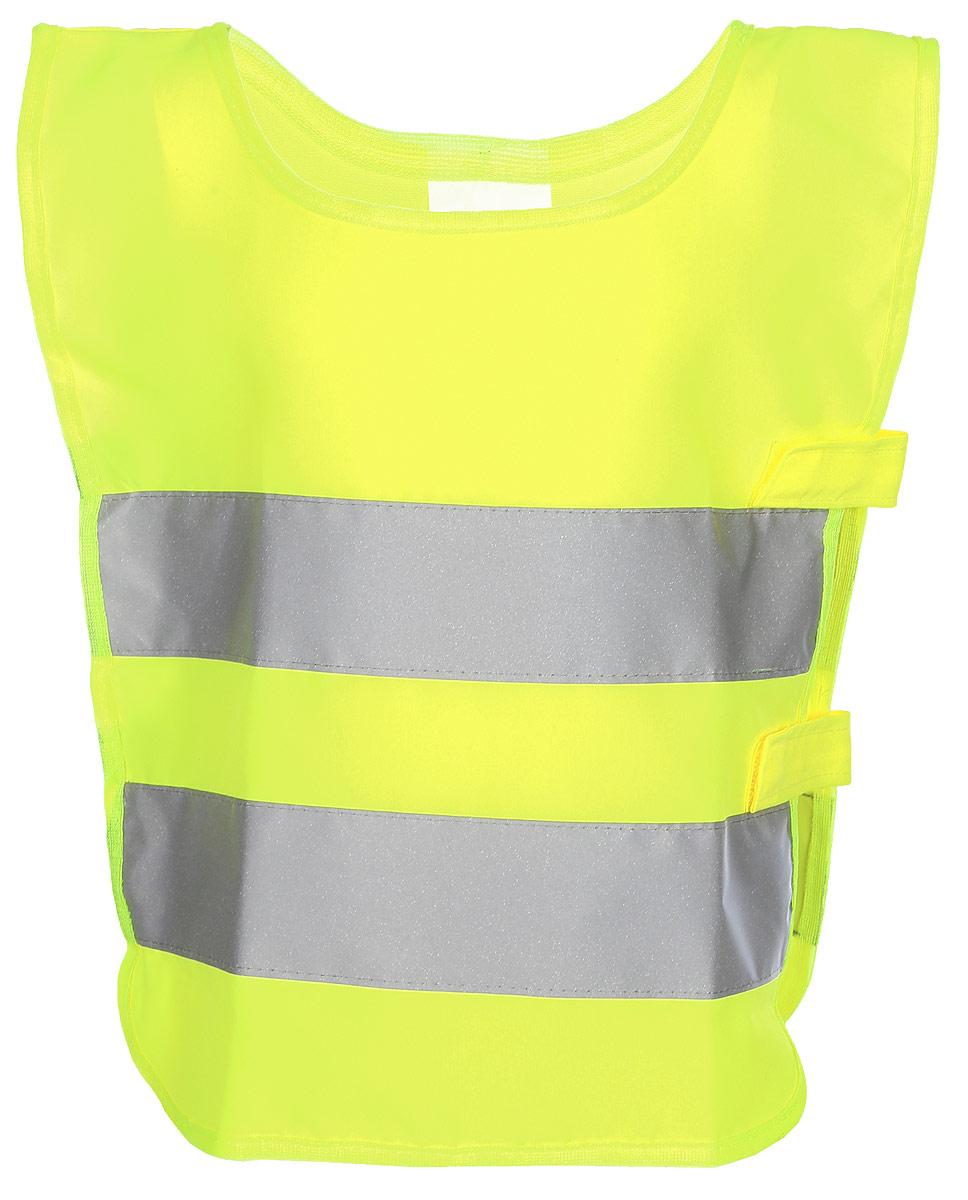 Жилет детский Airline, со светоотражающими полосами, цвет: желтыйARW-CV-01Светоотражающий жилет для детей Airline поможет обезопасить ребенка в темное время суток, а также на затемненной местности. Он имеет универсальный размер и яркий цвет. На поверхность жилета нанесены две широкие горизонтально расположенные светоотражающие полосы. Состав из полиэфира позволяет легко очищать изделие от загрязнений, а также обеспечивает долгий срок службы жилета. Одна из боковых сторон оснащена эластичными резинками, другая - регулируется с помощью хлястиков с липучками. Преимущества:Износоустойчивый материал.Легко чистятся.Универсальный размер.Высокие светоотражающие свойства.Размер: универсальный, 41 х 36 см.Российский размер: 26-30.